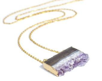 Amethyst Healing Crystal Slice Necklace -Quartz- Vintage Gold Dipped Jewelry -Agate Druzy Jewellery - Semi Precious Stone