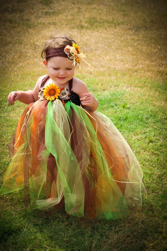 2af2552b870 Fall Scarecrow Tutu Dress and Matching Headband with Sunflowers This dress  is perfect for pictures at the pumpkin patch