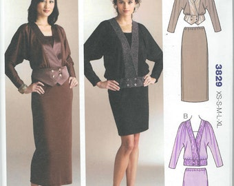 Sewing Pattern - Out of Print Misses Pattern,  Tops and Skirts Pattern, Kwik Sew #K3829