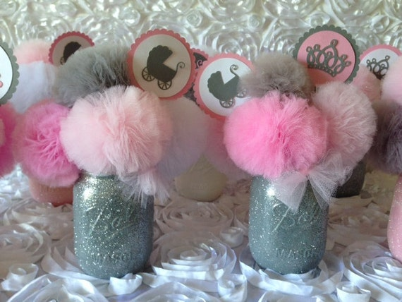 Pink gray baby shower decorations centerpieces