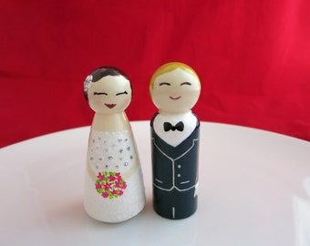 Wedding cake topper, Wedding peg doll, Personalised dolls, Bride and Groom, Cake toppers, Wedding couple, Wedding peg dolls