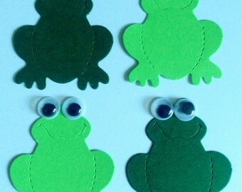 10 green Frog Die Cuts with googly eyes for children's cards/toppers cardmaking craft project