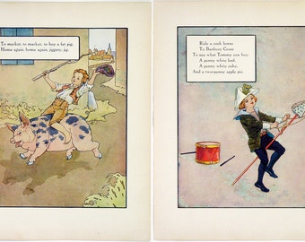 Vintage 1915 Mother Goose Rhymes Print Wall Art by Frederick Richardson Full Color Lithograph To Market, To Market Childrens Illustration