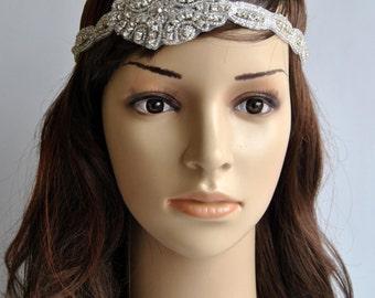 Rhinestone 1920s Headpiece,Flapper Headpiece,1920s headpiece,Rhinestone beaded headpiece,The Great Gatsby Headband, crystal bridal headband