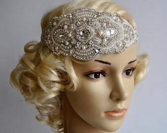 Glamour Pearls Rhinestone flapper Gatsby Headband, Wedding Headband, Crystal Headband, Wedding Headpiece, Bridal Headpiece, 1920s Flapper