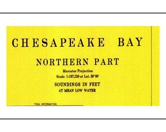 Chesapeake Bay Nautical Chart, Nautical Chart, Chesapeake Bay, Maryland Map, Virginia Map, Sailing Map, Sailing Art, Nautical Print, 1968