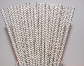 Gray Chevron Paper Straws - 25/Pack
