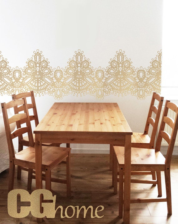 gold LACE big wall decal lace PATTERN vintage interior decal CGhome tulle wallsticker