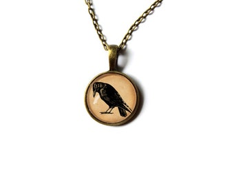 Black raven jewelry Crow pendant Gothic charm Antique style  NW4