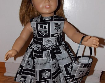 "New LA Kings Hockey Dress with Headband and Purse Fits 18"" American Girl Dolls Doll Clothes"