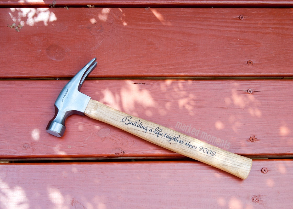 Th anniversary gift wood engraved personalized hammer with
