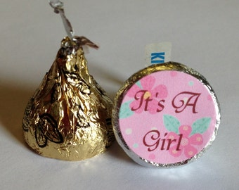 Pink Flowers ~ Its A Girl ~ 108 Hershey Kiss Candy Label Stickers