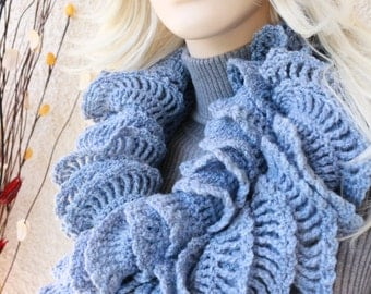 Unique Crochet Ruffle Scarf - Blue Scarf - Women's Crochet Scarf - Long Scarf - Crochet Gift For Her - Hand Crocheted Scarf - Ready To Ship