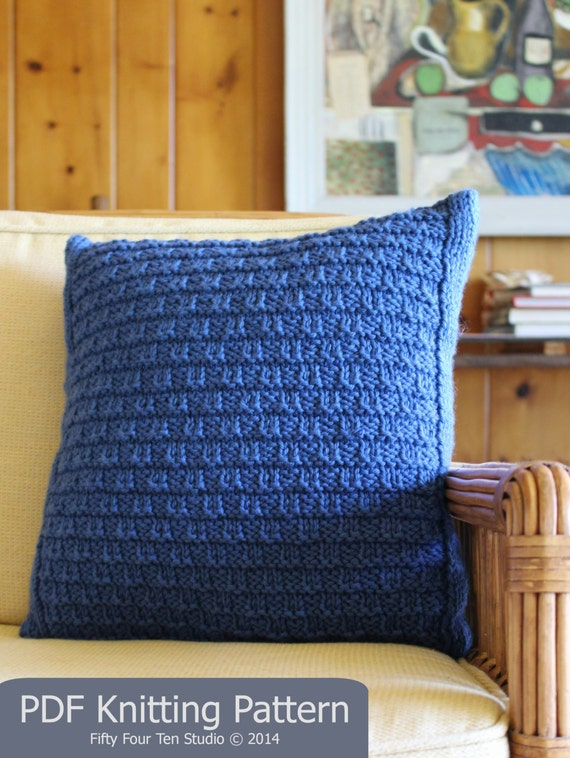 "New Pillow KNITTING PATTERN / Cushion / Quick & Easy Knit / Chunky Yarn / PDF instant download / ""Bay View Pillow"""