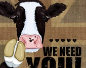 Compassionate Britain We Need You - Free Range Cow, Union Jack, Cool Britannia / Dig for Victory Wartime Food Farm Animal A3 Print