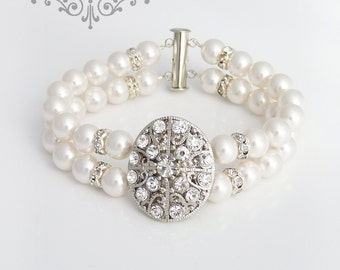 Wedding Jewelry Swarovski Pearl Bracelet Bridal Bracelet Double strands Pearl Bracelet Bridal Jewelry Bridesmaids Bracelet - MAY