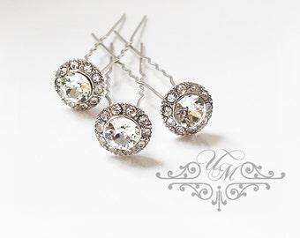 Set Swarovski Crystal hair pins Wedding Headpiece Wedding Hair pins Bridal hair pins Bridesmaids hair pins Rhinestone circle pins - ORLA