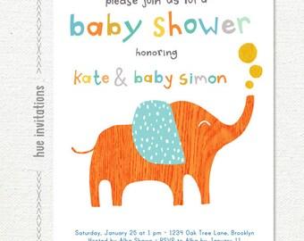 elephant baby shower invitation, orange aqua blue gray mustard yellow, baby boy shower invitation, 5x7 digital file jpg or pdf 278