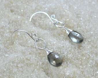 Sterling Silver Wire Wrapped Moss Aquamarine Earrings