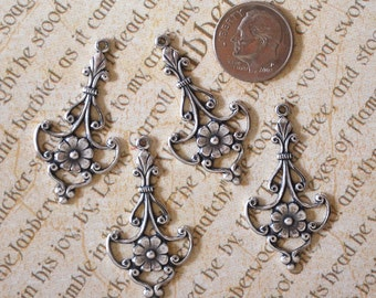 Antique Silver Large Filigree Drops (4)