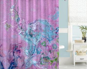 Contemporary Shower Curtain Abstract Art Bathroom Decor Lavender Purple B