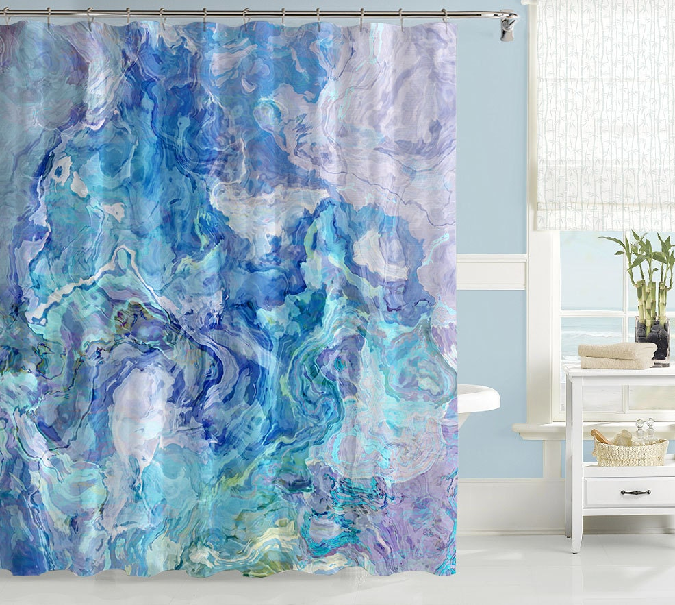 Abstract art shower curtain contemporary bathroom decor aqua for Paintings for bathroom decoration
