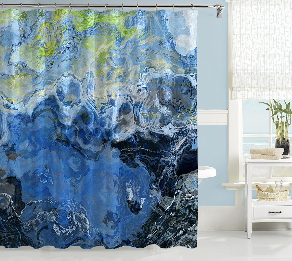 abstract art shower curtain contemporary bathroom decor blue. Black Bedroom Furniture Sets. Home Design Ideas
