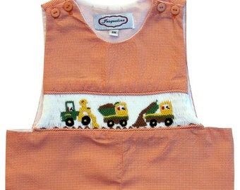 Hand Smocked Boys Orange Gingham Dump Trucks Jon Jon
