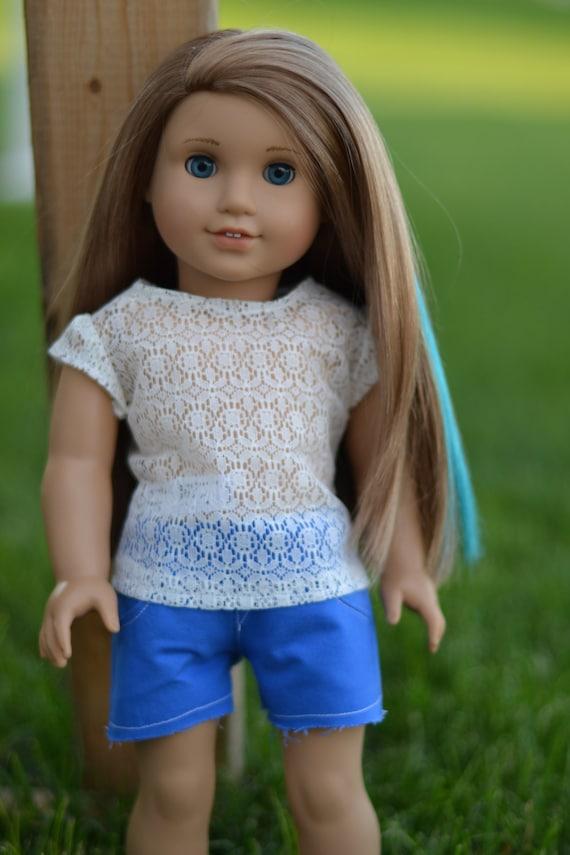 sale blue shorts for american girl dolls by sunrisedolls on etsy. Black Bedroom Furniture Sets. Home Design Ideas
