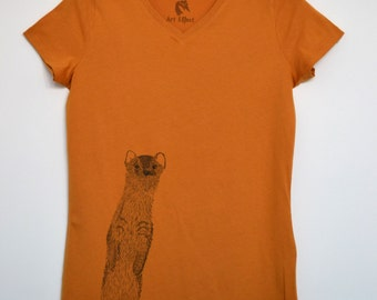 100% organic fair trade cotton Tshirt-weasel illustration-V neck medium fitted red eco t-shirt in sizes S M L