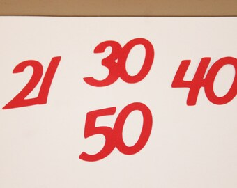 Customizable Double-Digit Number Confetti- 50 pieces-any number-any color