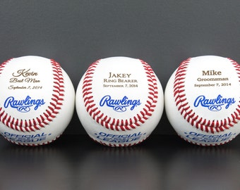 Baseballs Personalized with Name - Engraved Baseball Groomsman Gift or Ring Bearer Gift