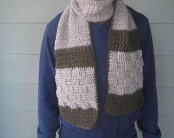 Mens rustic scarf crochet pattern with multiple pattern motifs // Gifts for him // Beginner to intermediate crochet pattern // Tutorial