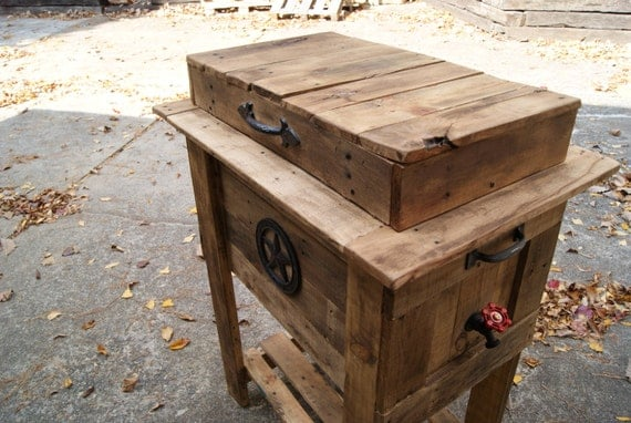 Wooden Ice Chest ~ Items similar to vintage rustic wooden cooler ice chest