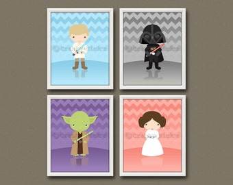 8x10 (4) STAR WARS NURSERY Prints - Nursery Art, Children's Art, Star Wars Art - Darth Vader, Yoda, Luke Skywalker, and Princess Leia