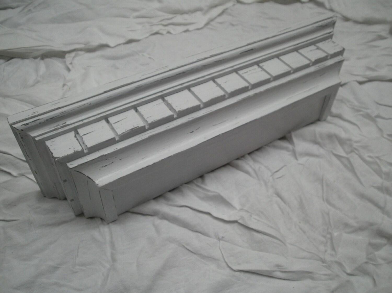 Rustic Wood Shelf White Shabby Shelf Distressed By C3woodwerks