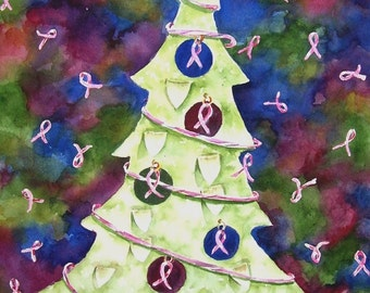 Christmas Tree - Christmas/Holiday Card - Breast Cancer Themed