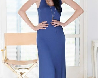 SALE 30% OFF- Long Summer Dress, Summer Maxi Dress, Blue Maxi Dress, Jersey Maxi  Dress, Womens Maxi Dress, Long Maxi Dress, Tank Top Dress