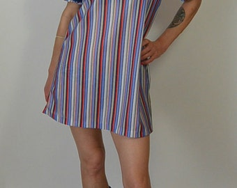 Purple Stripe Tunic/Dress// 70s Shift Dress// Babydoll Dress