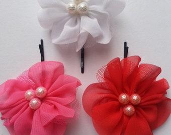 Chiffon Flowers on Bobby Pin. Set of 3