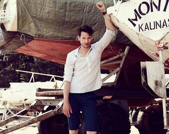 LAST ITEM: Men's slim summer shorts in navy cotton