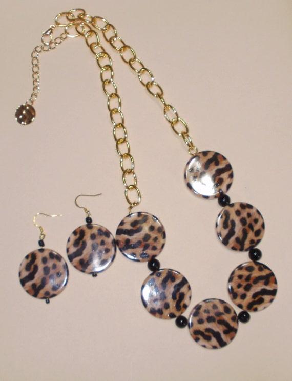 leopard print necklace set leopard print earrings by