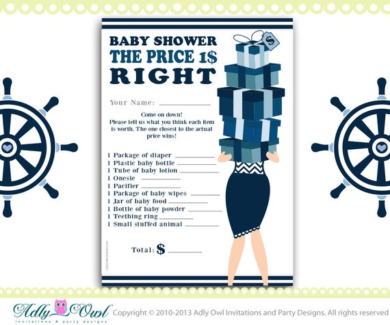 nautical price is right baby boy shower game printable with sea