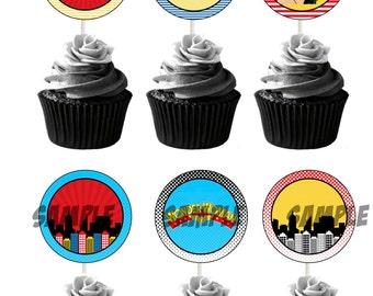 "Printable Cupcake Toppers Superhero Wonder Woman Comic Marvel Superhero 2.5"""