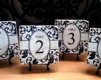 Floral Flourish marble tile table numbers