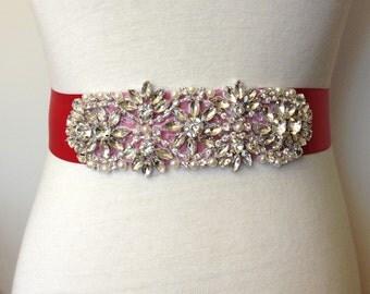 Evening Sash-Red Sash-Red Belt-Bridal Sash-Rhinestone Sash-Wedding Sash-Wedding Belt-Dress Belt-Floral Crystal Pearl Applique Sash