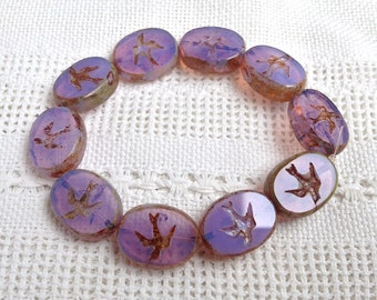 Czech Picasso Artisan Flat Oval Bead with Bird -12 x 16 mm Lavender Opal with Picasso Edges - 10 Pieces