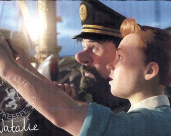 Tintin & Captain Haddock Original Oil Pastel Drawing