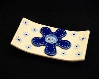 "Square ceramic SOAP dish ""Flower"" blue"