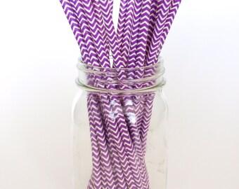 Chevron Straws, Paper Straws Bulk, Vintage Drinking Straws, Purple Chevron Straws, 25 Pack - Purple Chevron